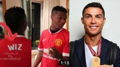 Photo of Wizkid Received new Jersey from C. Ronaldo as a Fan.